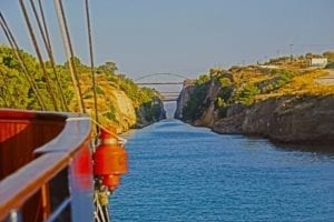 Entering the Corinth-Canal